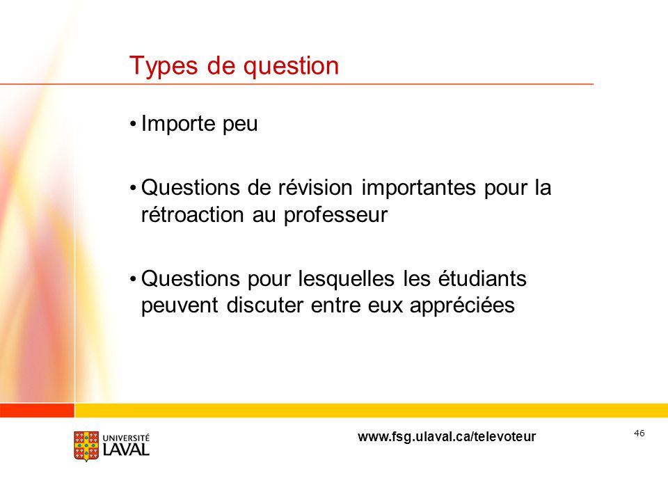 www.fsg.ulaval.ca/televoteur 45 Fréquence des questions durant 1 cours Fréquence de 5 à 6 questions/heure semble appropriée Les questions peuvent être
