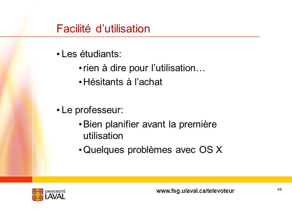 www.fsg.ulaval.ca/televoteur 47 Temps de préparation Environ 1 heure/heure de cours