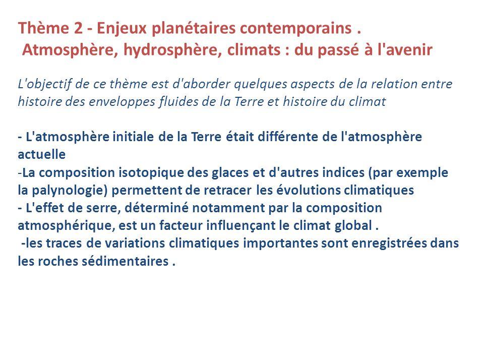 Thème 2 - Enjeux planétaires contemporains.