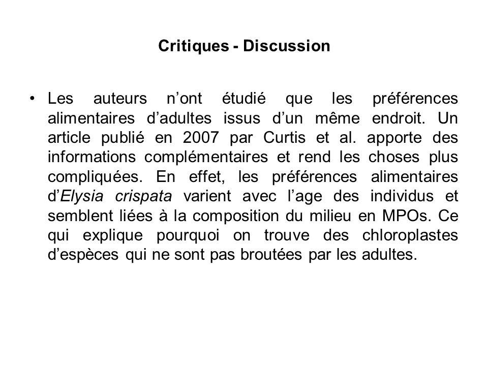 Critiques - Discussion Les auteurs nont étudié que les préférences alimentaires dadultes issus dun même endroit.