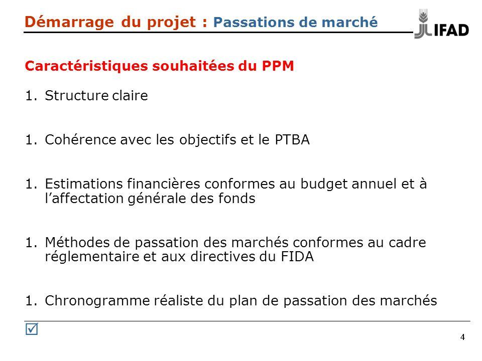 444 Démarrage du projet : Passations de marché Caractéristiques souhaitées du PPM 1.Structure claire 1.Cohérence avec les objectifs et le PTBA 1.Estimations financières conformes au budget annuel et à laffectation générale des fonds 1.Méthodes de passation des marchés conformes au cadre réglementaire et aux directives du FIDA 1.Chronogramme réaliste du plan de passation des marchés