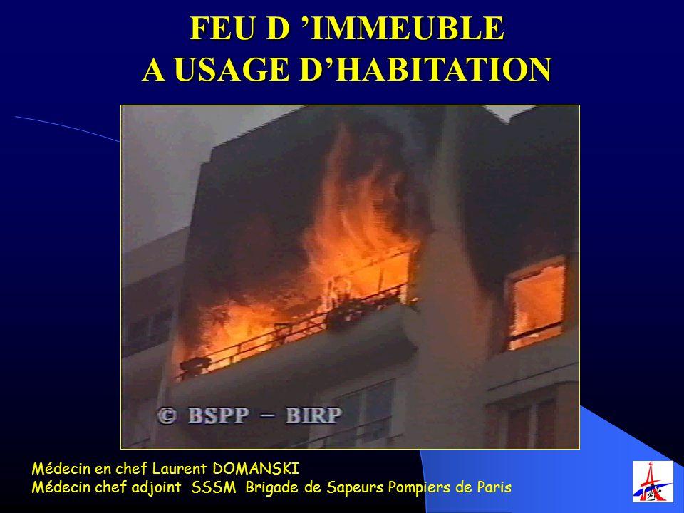 FEU D IMMEUBLE A USAGE DHABITATION Médecin en chef Laurent DOMANSKI Médecin chef adjoint SSSM Brigade de Sapeurs Pompiers de Paris