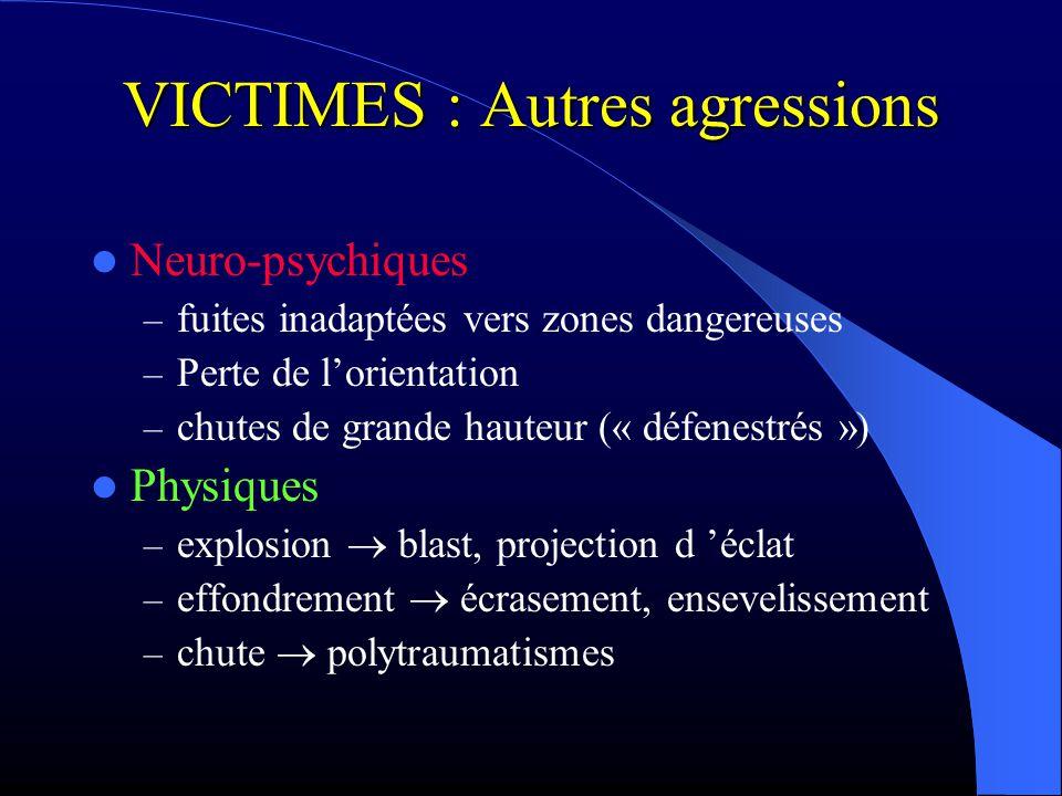 VICTIMES : Autres agressions Neuro-psychiques – fuites inadaptées vers zones dangereuses – Perte de lorientation – chutes de grande hauteur (« défenes