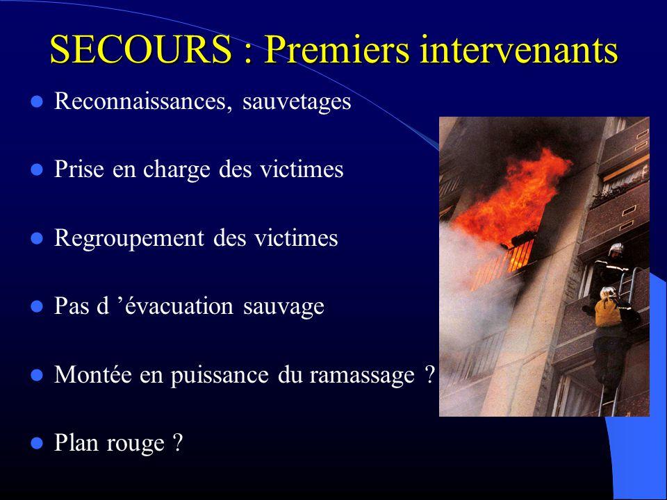 SECOURS : Premiers intervenants Reconnaissances, sauvetages Prise en charge des victimes Regroupement des victimes Pas d évacuation sauvage Montée en
