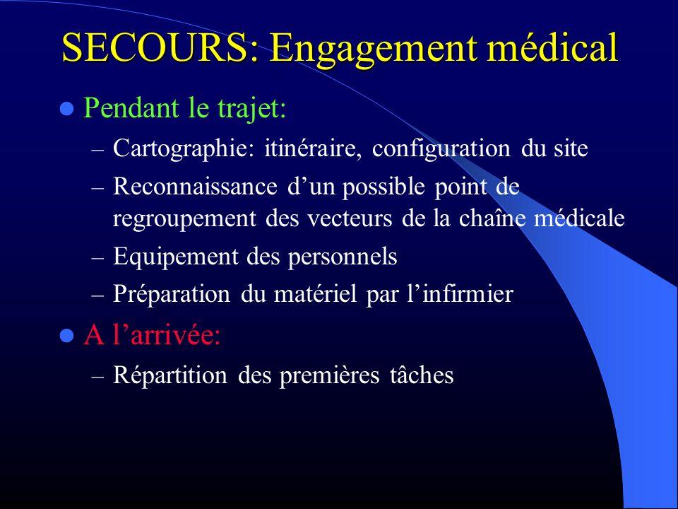 SECOURS: Engagement médical Pendant le trajet: – Cartographie: itinéraire, configuration du site – Reconnaissance dun possible point de regroupement d