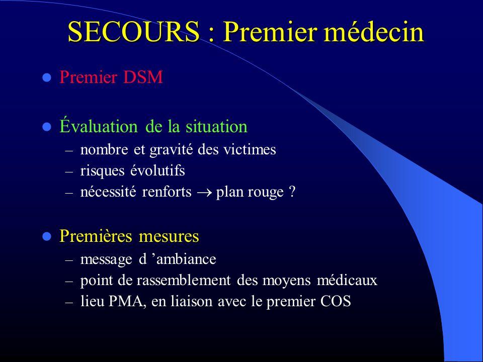 SECOURS : Premier médecin Premier DSM Évaluation de la situation – nombre et gravité des victimes – risques évolutifs – nécessité renforts plan rouge