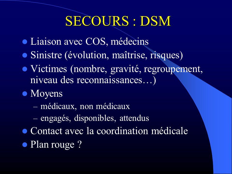 SECOURS : DSM Liaison avec COS, médecins Sinistre (évolution, maîtrise, risques) Victimes (nombre, gravité, regroupement, niveau des reconnaissances…)