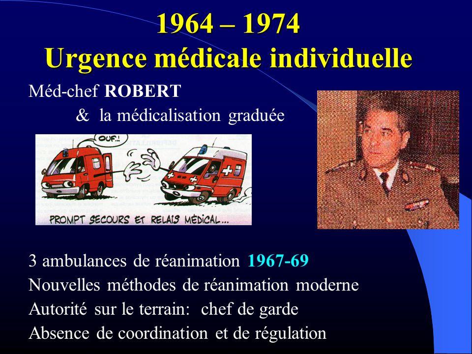 1964 – 1974 Urgence médicale individuelle Méd-chef ROBERT & la médicalisation graduée 3 ambulances de réanimation 1967-69 Nouvelles méthodes de réanim