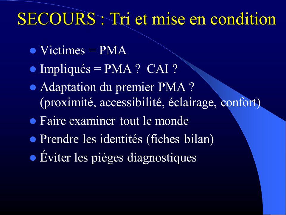 SECOURS : Tri et mise en condition Victimes = PMA Impliqués = PMA ? CAI ? Adaptation du premier PMA ? (proximité, accessibilité, éclairage, confort) F