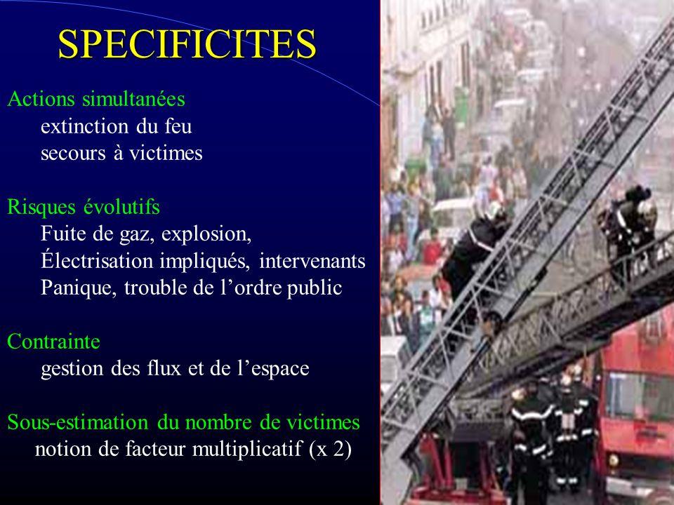SPECIFICITES Actions simultanées extinction du feu secours à victimes Risques évolutifs Fuite de gaz, explosion, Électrisation impliqués, intervenants