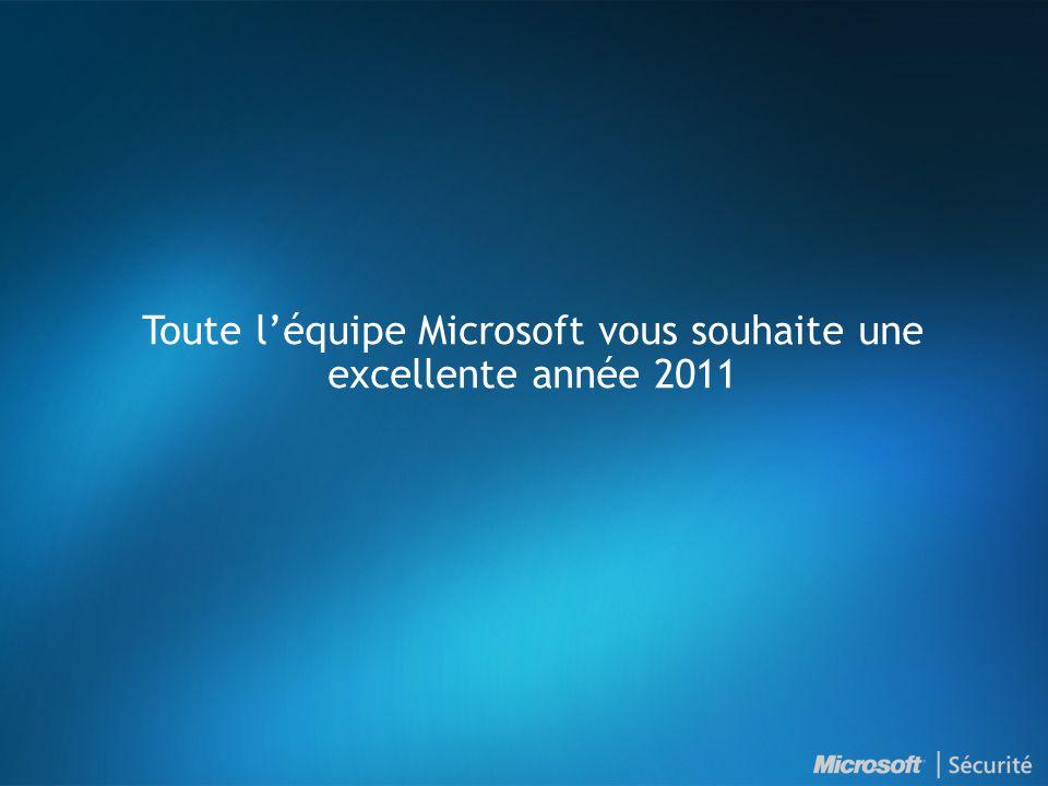 Toute léquipe Microsoft vous souhaite une excellente année 2011