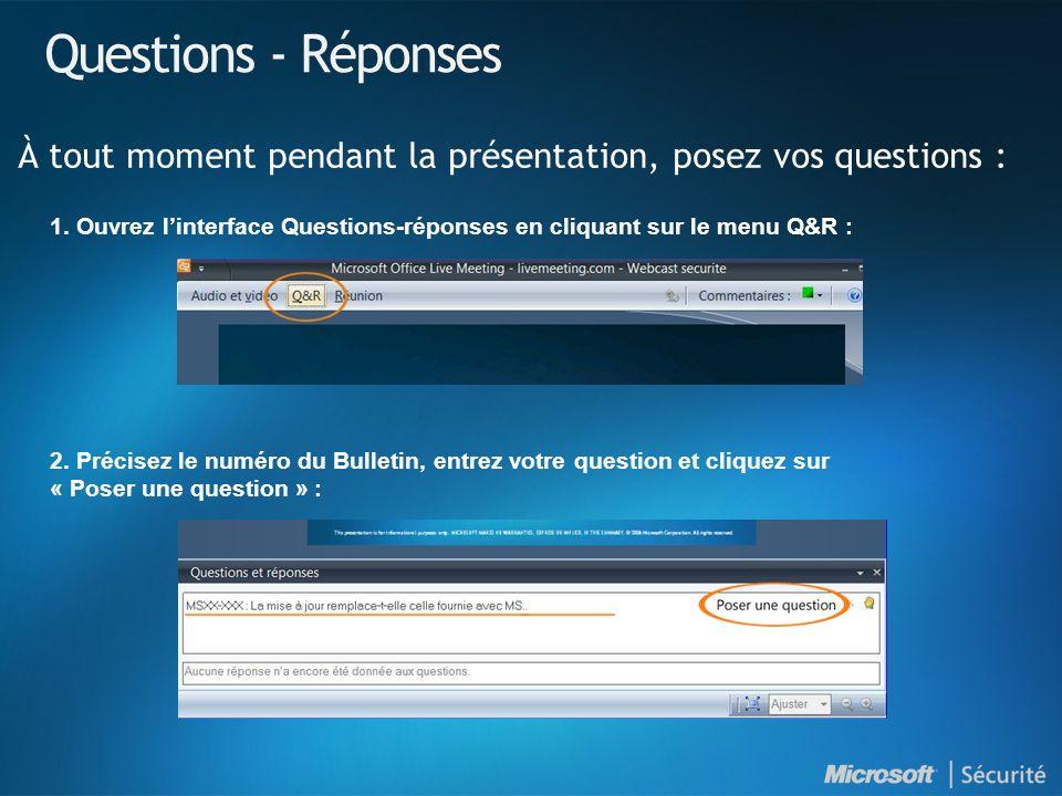 Questions - Réponses À tout moment pendant la présentation, posez vos questions : 1. Ouvrez linterface Questions-réponses en cliquant sur le menu Q&R
