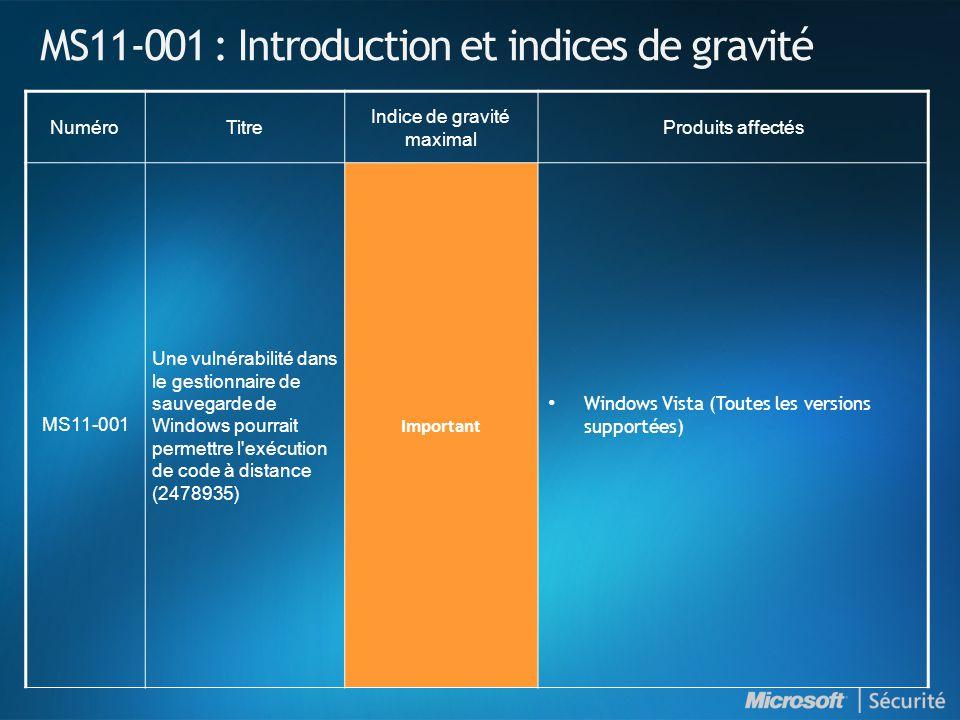 MS11-001 : Introduction et indices de gravité NuméroTitre Indice de gravité maximal Produits affectés MS11-001 Une vulnérabilité dans le gestionnaire
