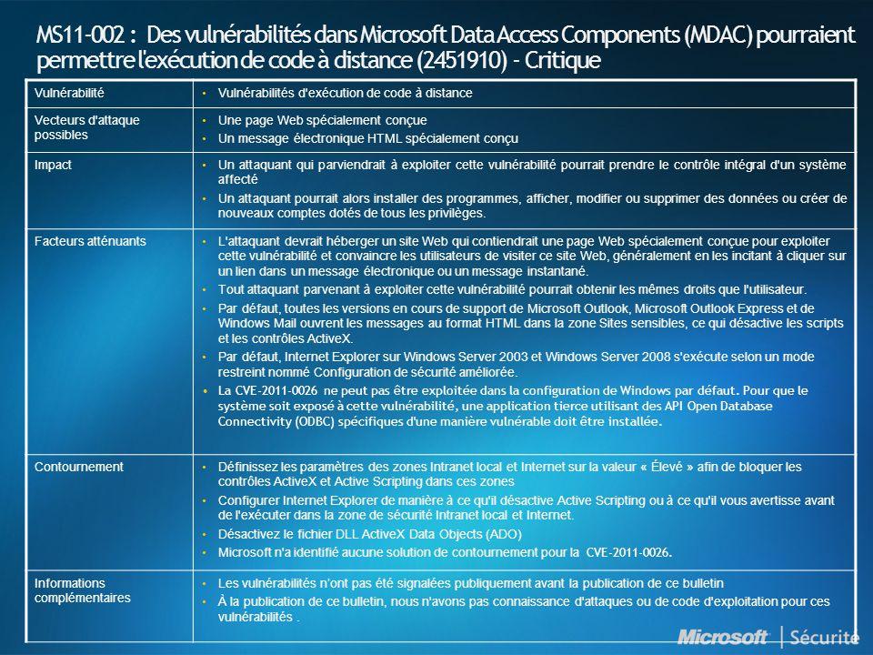 MS11-002 : Des vulnérabilités dans Microsoft Data Access Components (MDAC) pourraient permettre l'exécution de code à distance (2451910) - Critique Vu
