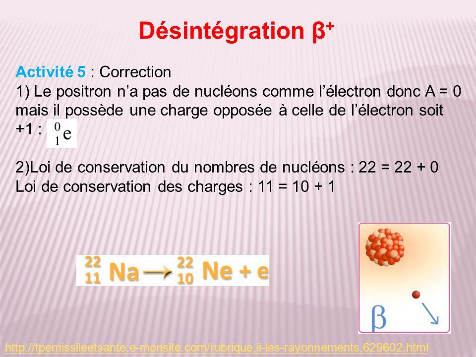 Désintégration β + Activité 5 : Correction 1) Le positron na pas de nucléons comme lélectron donc A = 0 mais il possède une charge opposée à celle de lélectron soit +1 : 2)Loi de conservation du nombres de nucléons : 22 = 22 + 0 Loi de conservation des charges : 11 = 10 + 1 http://tpemissileetsante.e-monsite.com/rubrique,ii-les-rayonnements,629602.html