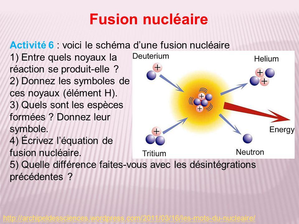 Activité 6 : voici le schéma dune fusion nucléaire 1) Entre quels noyaux la réaction se produit-elle ? 2) Donnez les symboles de ces noyaux (élément H
