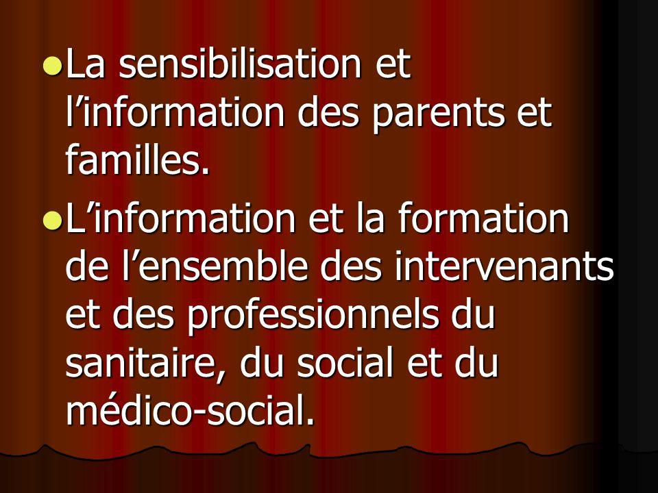 La sensibilisation et linformation des parents et familles.