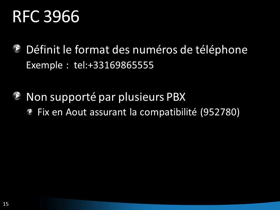 15 RFC 3966 Définit le format des numéros de téléphone Exemple : tel:+33169865555 Non supporté par plusieurs PBX Fix en Aout assurant la compatibilité