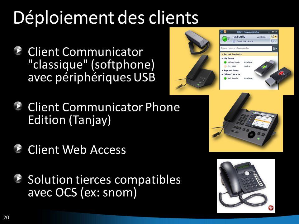 20 Déploiement des clients Client Communicator