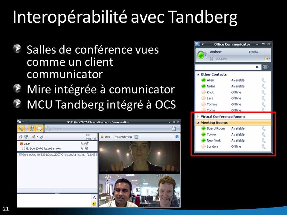 21 Interopérabilité avec Tandberg Salles de conférence vues comme un client communicator Mire intégrée à comunicator MCU Tandberg intégré à OCS