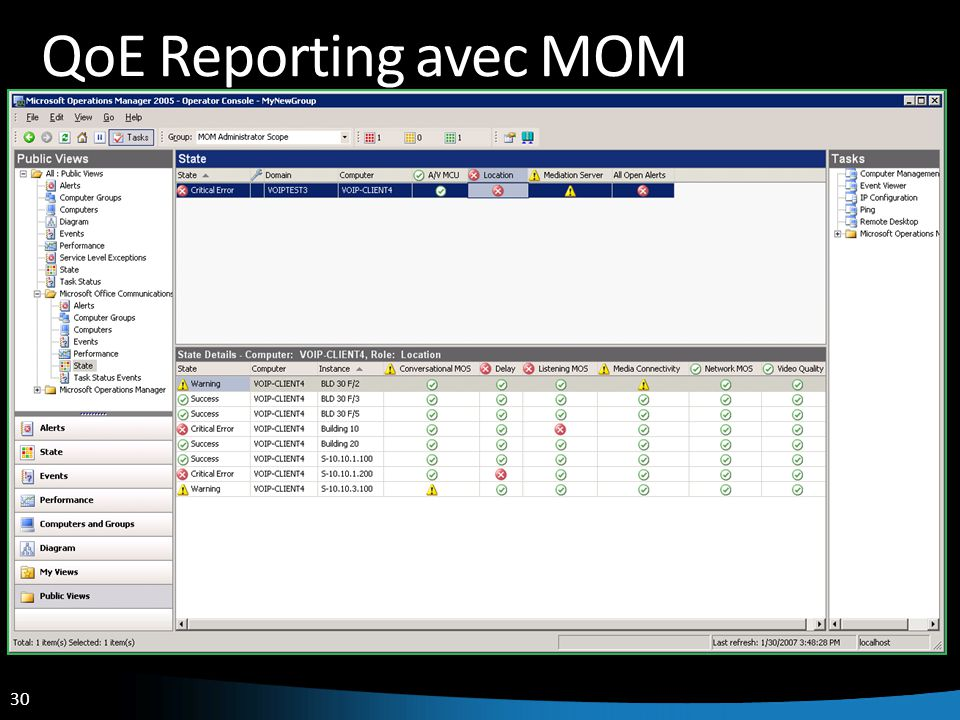 30 QoE Reporting avec MOM
