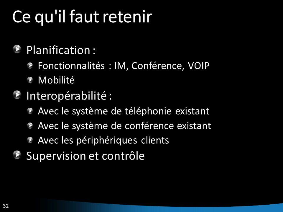 32 Ce qu'il faut retenir Planification : Fonctionnalités : IM, Conférence, VOIP Mobilité Interopérabilité : Avec le système de téléphonie existant Ave