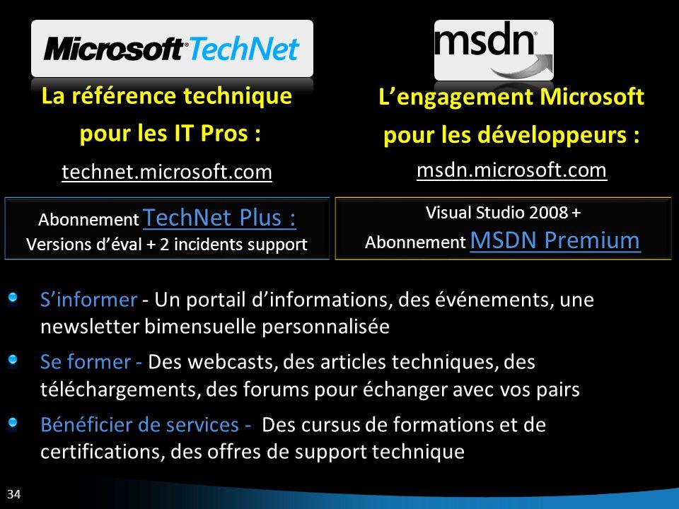 34 La référence technique pour les IT Pros : pour les IT Pros : technet.microsoft.com Lengagement Microsoft pour les développeurs : msdn.microsoft.com