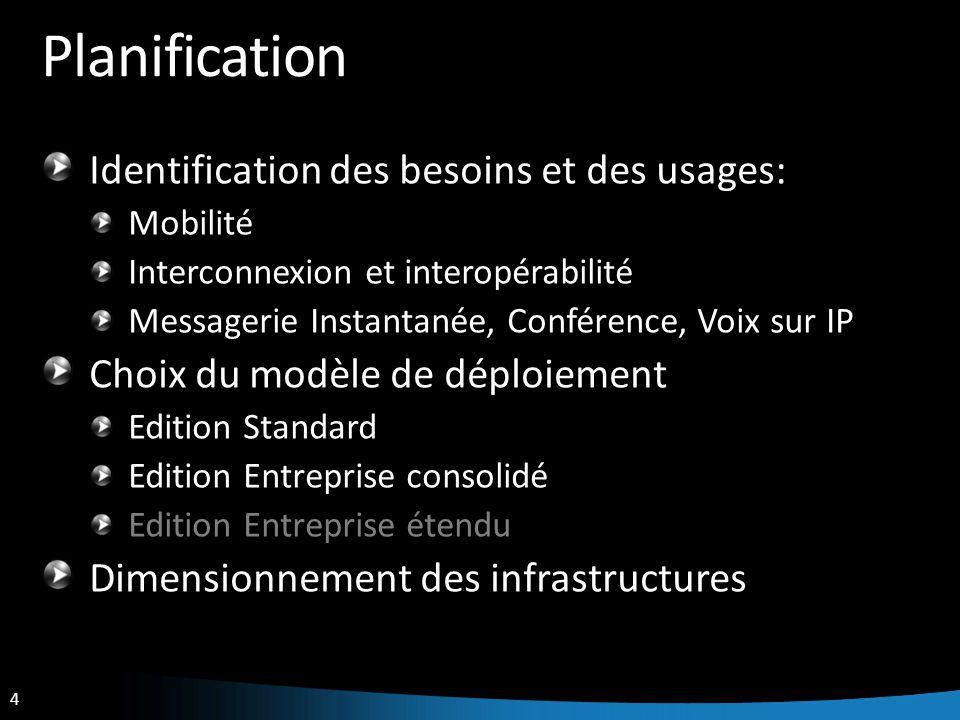 4 Planification Identification des besoins et des usages: Mobilité Interconnexion et interopérabilité Messagerie Instantanée, Conférence, Voix sur IP