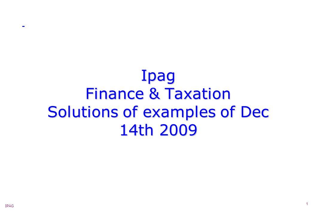 IPAG 2 Ipag – 3-International Tax – Direct operations abroad - Examples « Example 2 – Représentant dépendant « En N-3, la SACDT a envoyé un agent à Guatemala City, pour prospecter le marché et présenter des échantillons.