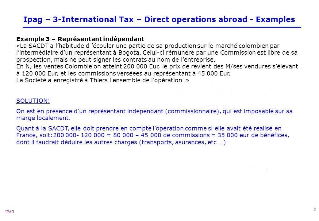 IPAG 4 Ipag – 3-International Tax – Direct operations abroad - Examples « Example 4 – Inter-entreprises « La succursale de Montevideo ouverte en N-4, a eu des difficultés dexploitation au cours des premières annéees de fonctionnement (pertes antérieures ).