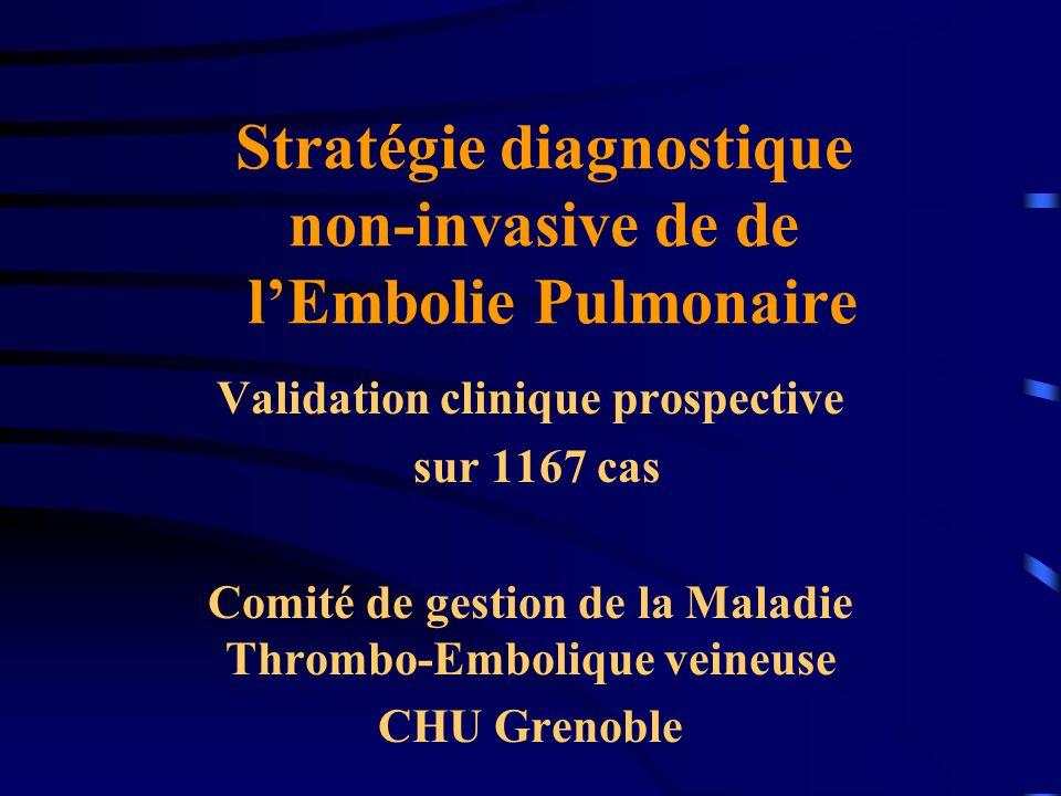 Stratégie diagnostique non-invasive de de lEmbolie Pulmonaire Validation clinique prospective sur 1167 cas Comité de gestion de la Maladie Thrombo-Embolique veineuse CHU Grenoble