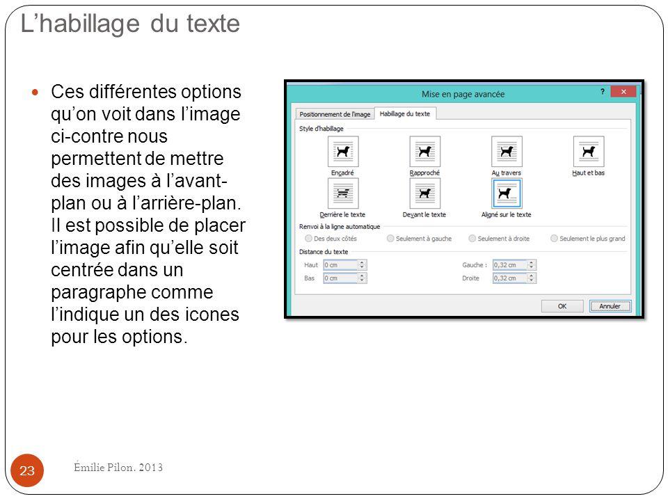 Lhabillage du texte Ces différentes options quon voit dans limage ci-contre nous permettent de mettre des images à lavant- plan ou à larrière-plan. Il