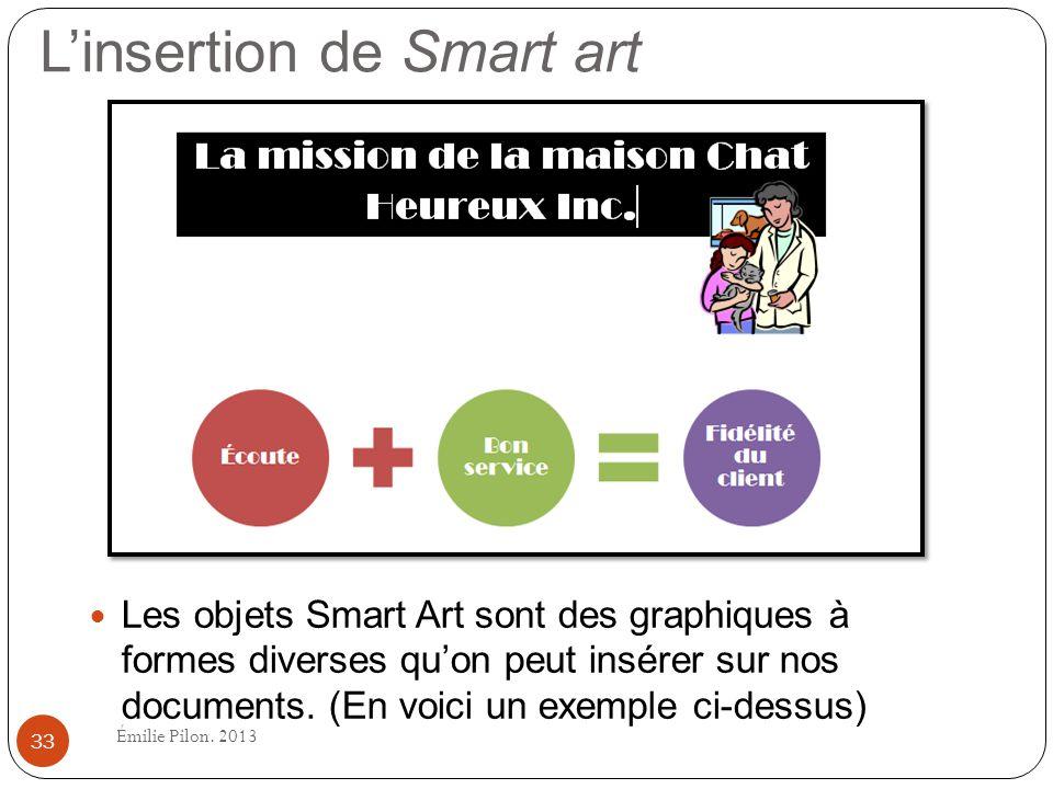 Linsertion de Smart art Les objets Smart Art sont des graphiques à formes diverses quon peut insérer sur nos documents. (En voici un exemple ci-dessus