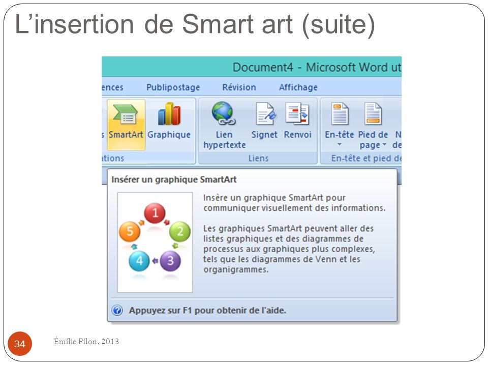 Linsertion de Smart art (suite) 34 Émilie Pilon. 2013
