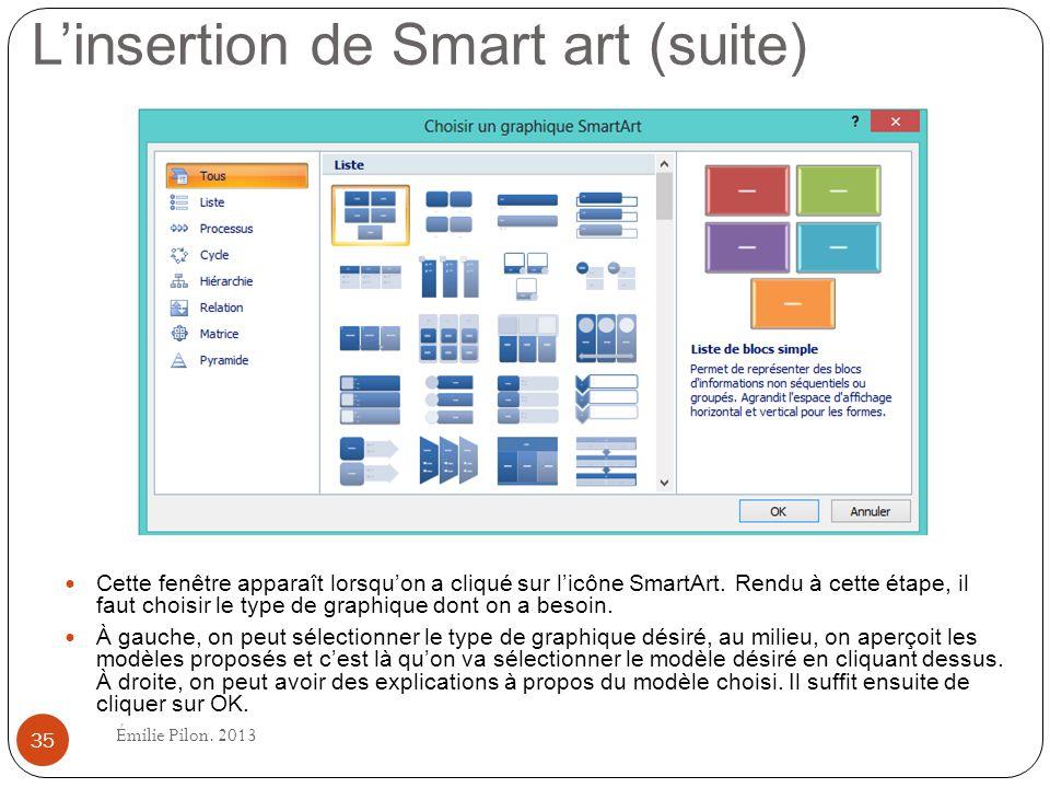 Linsertion de Smart art (suite) Cette fenêtre apparaît lorsquon a cliqué sur licône SmartArt. Rendu à cette étape, il faut choisir le type de graphiqu