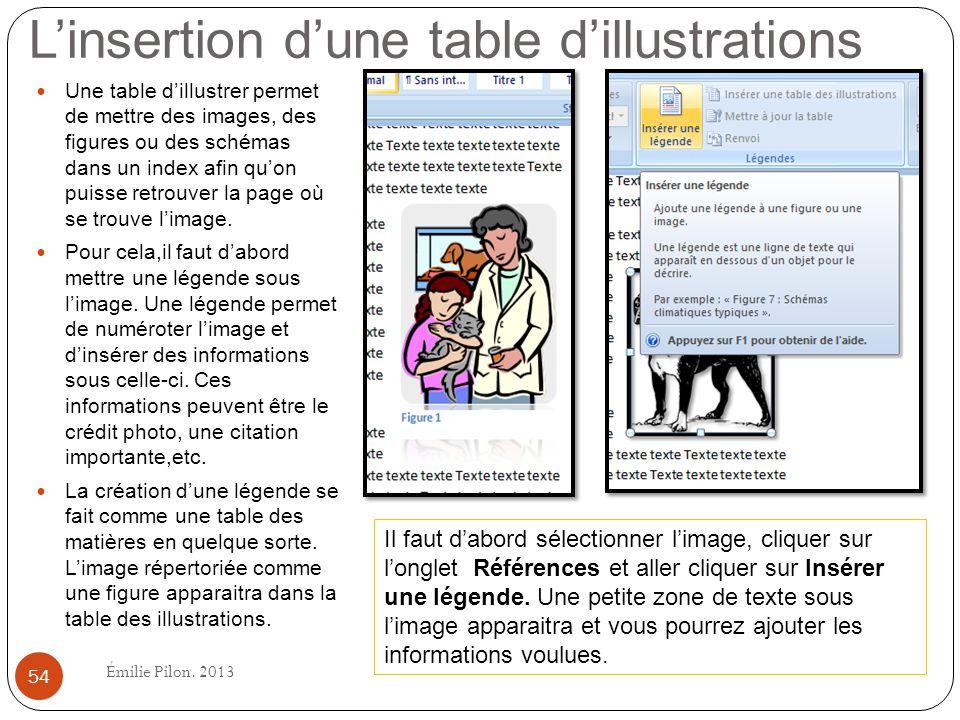 Linsertion dune table dillustrations Une table dillustrer permet de mettre des images, des figures ou des schémas dans un index afin quon puisse retro