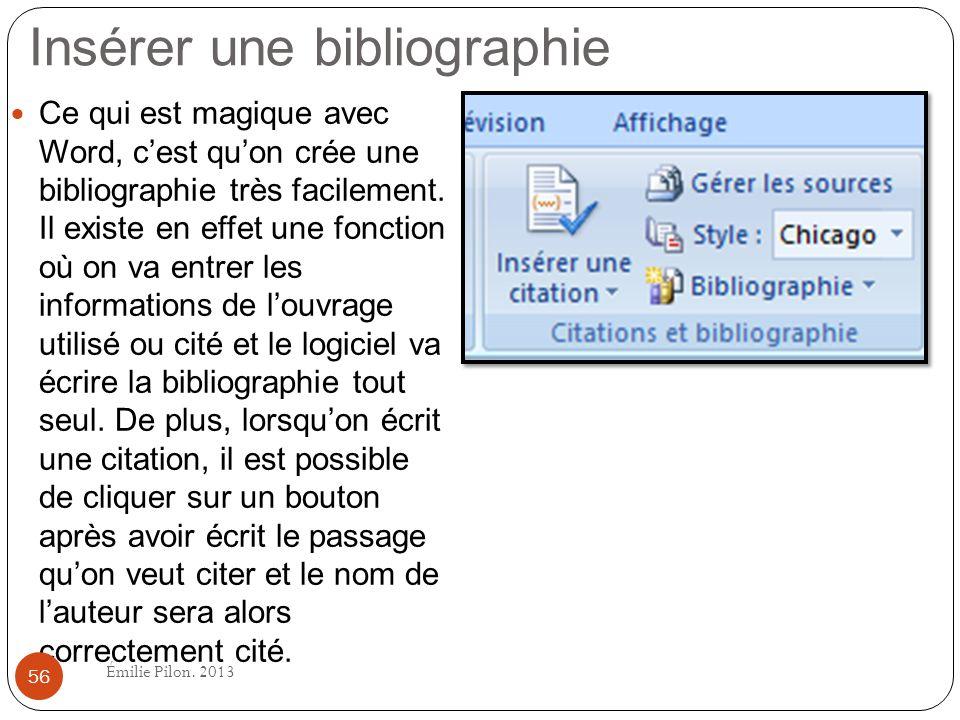 Insérer une bibliographie Ce qui est magique avec Word, cest quon crée une bibliographie très facilement. Il existe en effet une fonction où on va ent