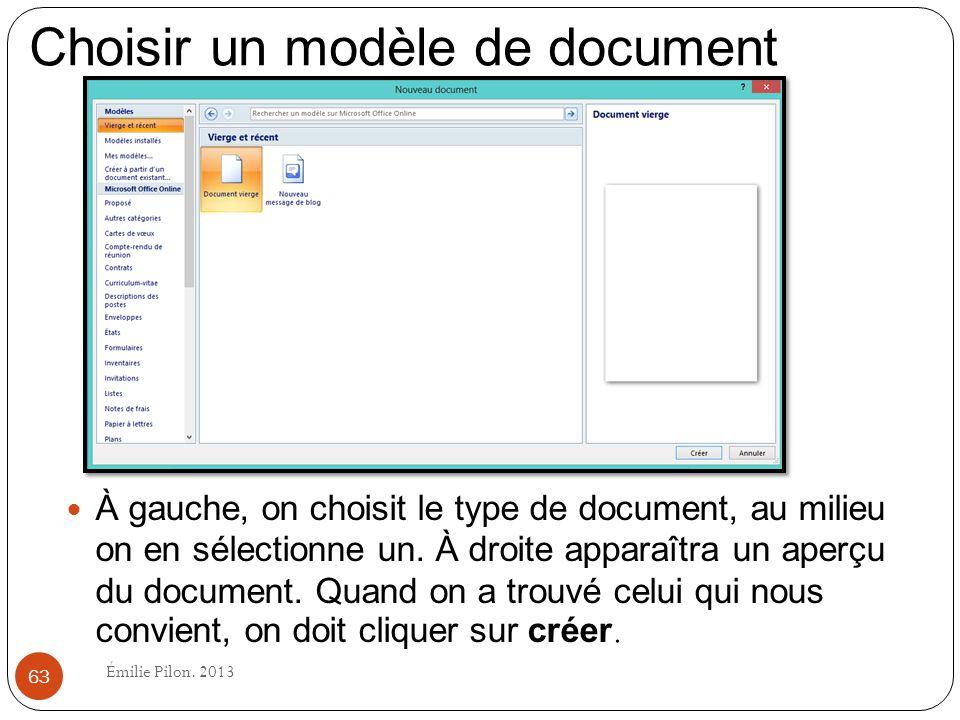 À gauche, on choisit le type de document, au milieu on en sélectionne un. À droite apparaîtra un aperçu du document. Quand on a trouvé celui qui nous