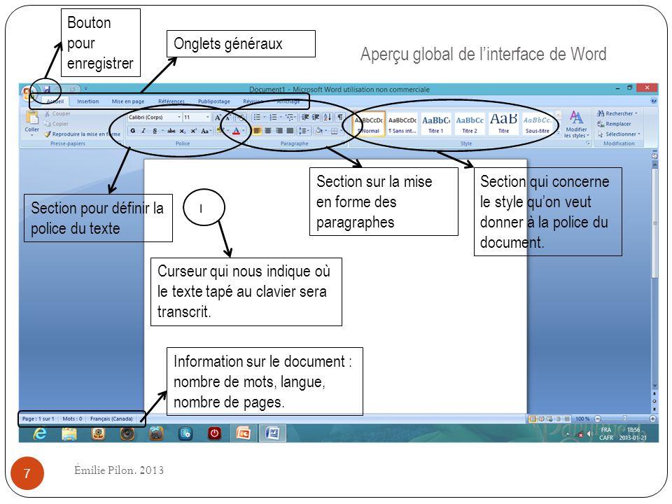 Aperçu global de linterface de Word Curseur qui nous indique où le texte tapé au clavier sera transcrit. Information sur le document : nombre de mots,