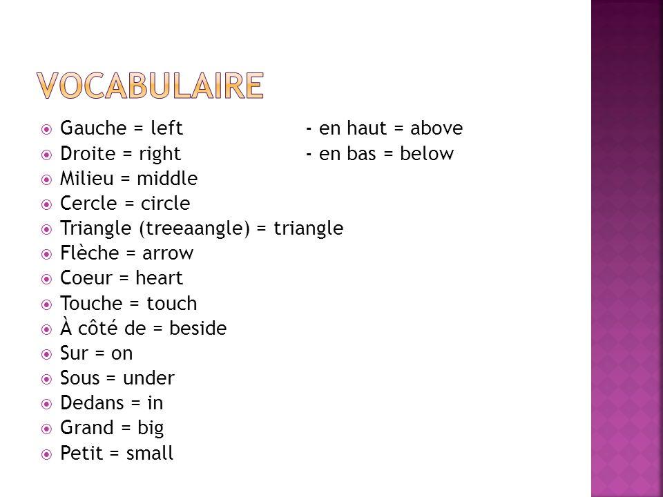Gauche = left- en haut = above Droite = right- en bas = below Milieu = middle Cercle = circle Triangle (treeaangle) = triangle Flèche = arrow Coeur = heart Touche = touch À côté de = beside Sur = on Sous = under Dedans = in Grand = big Petit = small