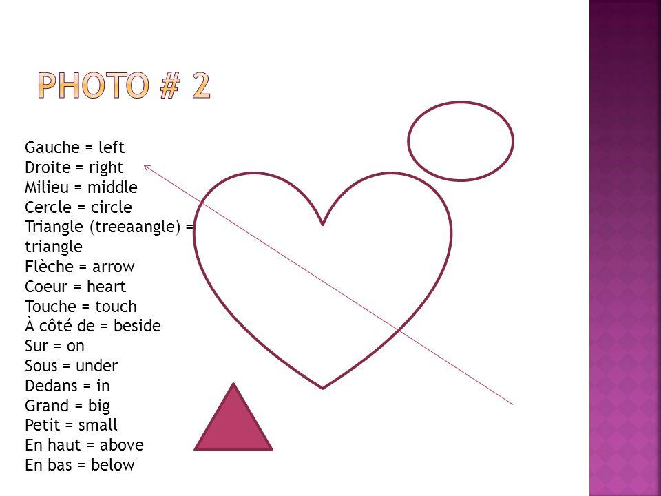 Gauche = left Droite = right Milieu = middle Cercle = circle Triangle (treeaangle) = triangle Flèche = arrow Coeur = heart Touche = touch À côté de = beside Sur = on Sous = under Dedans = in Grand = big Petit = small En haut = above En bas = below