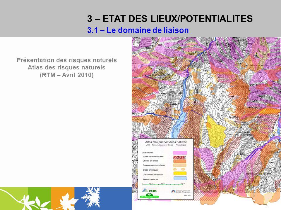 3 – ETAT DES LIEUX/POTENTIALITES 3.1 – Le domaine de liaison Présentation des risques naturels Atlas des risques naturels (RTM – Avril 2010)