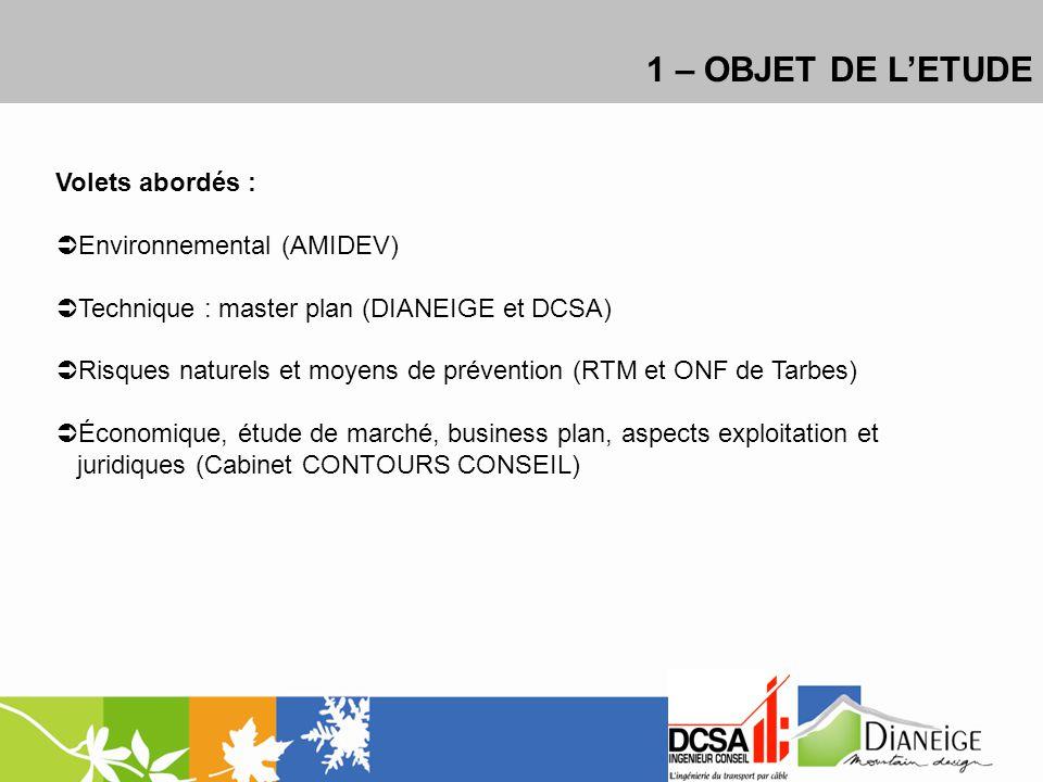 1 – OBJET DE LETUDE Volets abordés : Environnemental (AMIDEV) Technique : master plan (DIANEIGE et DCSA) Risques naturels et moyens de prévention (RTM