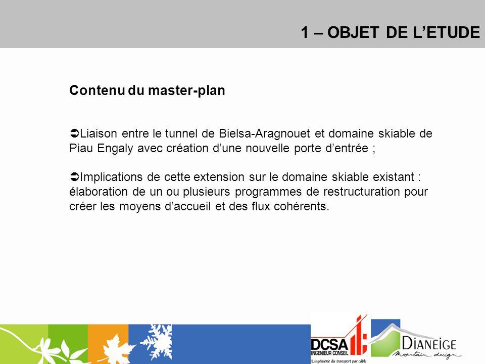 1 – OBJET DE LETUDE Contenu du master-plan Liaison entre le tunnel de Bielsa-Aragnouet et domaine skiable de Piau Engaly avec création dune nouvelle p