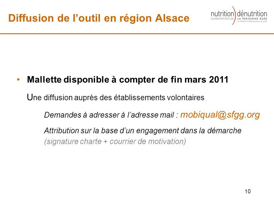 10 Diffusion de loutil en région Alsace Mallette disponible à compter de fin mars 2011 U ne diffusion auprès des établissements volontaires Demandes à adresser à ladresse mail : mobiqual@sfgg.org Attribution sur la base dun engagement dans la démarche (signature charte + courrier de motivation)