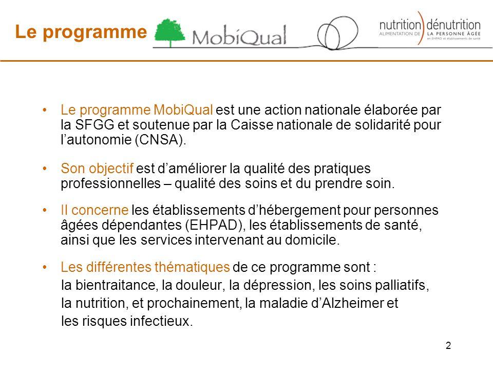 Le programme Le programme MobiQual est une action nationale élaborée par la SFGG et soutenue par la Caisse nationale de solidarité pour lautonomie (CNSA).