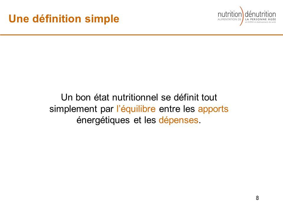 Un bon état nutritionnel se définit tout simplement par léquilibre entre les apports énergétiques et les dépenses.