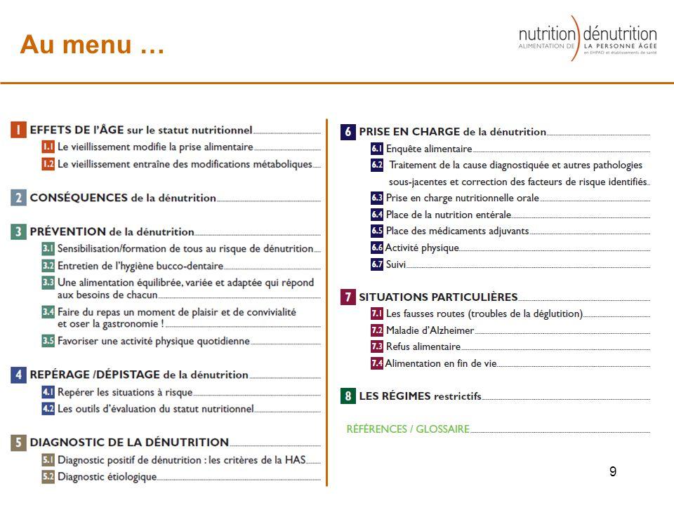 9 Au menu …