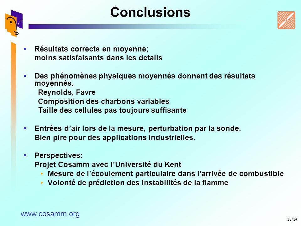 13/14 Conclusions Résultats corrects en moyenne; moins satisfaisants dans les details Des phénomènes physiques moyennés donnent des résultats moyénnés