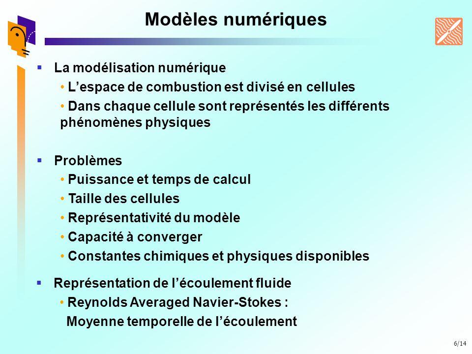 6/14 Modèles numériques La modélisation numérique Lespace de combustion est divisé en cellules Dans chaque cellule sont représentés les différents phé
